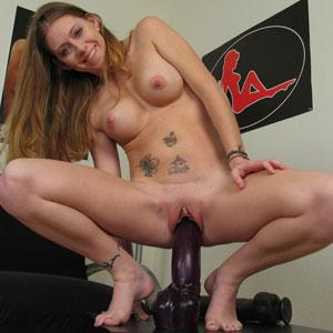 Jenna riding a massive brutal dildo