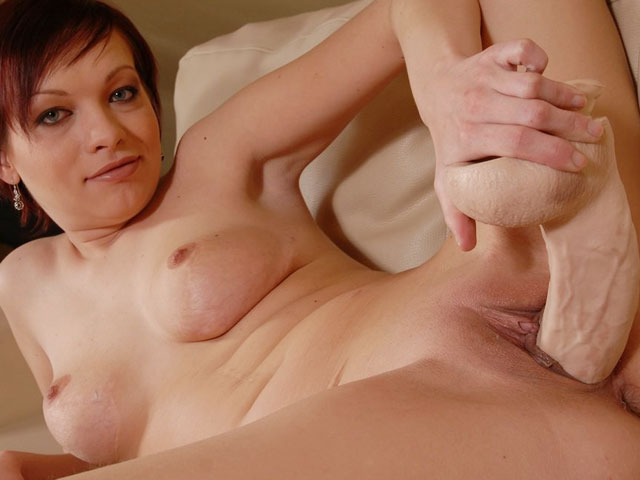 Tina riding heavy brutal dildo